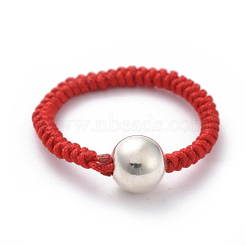 Nylon Cord Weave Rings, with Sterling Silver Spacer Beads and Cardboard Boxes, Round, Silver, Size 11, 21mm(RJEW-JR00287)