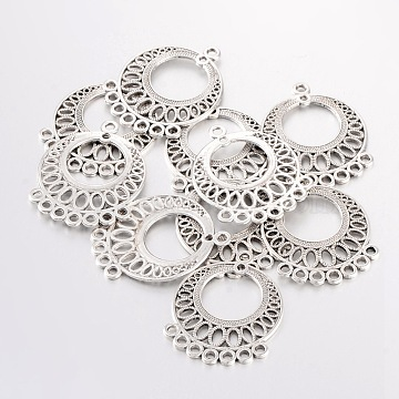 Tibetan Style Links, Lead Free and Cadmium Free, Flat Round, Antique Silver, about 37.5mm long, 29mm wide, 1mm thick, hole: 2.5mm(X-EA165Y)