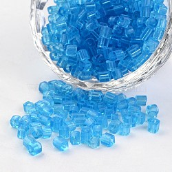 6/0 Cube Transparent Round Hole Glass Seed Beads, DodgerBlue, 3.5~4x2.5~3mm, Hole: 0.5mm; about 5500pcs/450g(SEED-I002-F3)