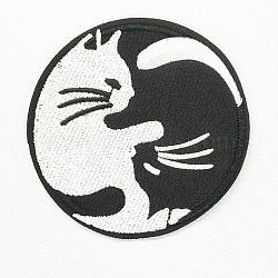 fer à repasser informatisé / coudre des patchs, accessoires de costumes, appliques, rond plat avec forme de chat, noir et blanc, 75 mm(DIY-O003-28)