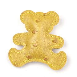 Gros pendentifs en similicuir, ouate de soie intérieure, ours, verge d'or, 64x64x16mm, Trou: 1mm(FIND-T019-01F)