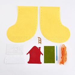 Bas de noël créatifs en tissu non tissé, emballage de matériel de bricolage, décoration de noël à la main, sac cadeau accessoires de couture, jaune, 35~175x16~138mm(DIY-WH0059-04)