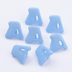 Boutons en acrylique, 1-trou, teint, lettre a, bleu ciel, 14x13x2mm, Trou: 3mm(X-BUTT-E028-09)