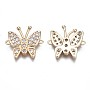 Real 18K Gold Plated Clear Butterfly Brass+Cubic Zirconia Links(KK-Q764-019)