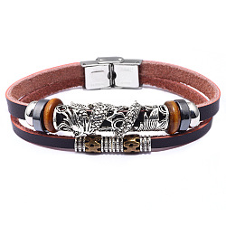 Leather Multi-strand Bracelets, with Synthetic Hematite, Alloy Findings and Stainless Steel Clasps, Dragon, Mixed Color, 8-1/2inches(21.5cm), 10mm(BJEW-F352-11M)