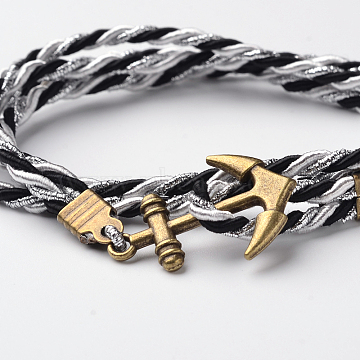 Two Loops Polyester Cord Wrap Bracelets, with Anchor Antique Bronze Tone Alloy Findings, Colorful, 415x3mm(BJEW-M193-13)