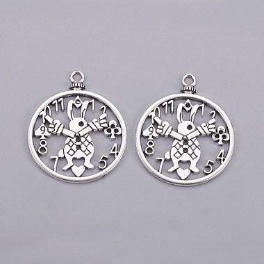 Tibetan Style Antique Silver Tone Alloy Rabbit Clock DIY Jewelry Pendant Accessories(X-PALLOY-A18705-AS-LF)-2
