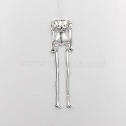 Squelette du corps humain pour la fabrication de bricolage en alliage de style tibétain, sans plomb et sans cadmium, argent antique, 115x18x6 mm; broches: 40 mm de long, 0.8mm(TIBE-39030A-AS-RS)