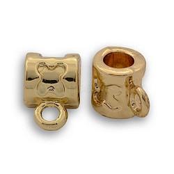 Liens de suspension en alliage d'or sans nickel et sans plomb, renflouer perles, plaqué longue durée, Tube, 11x7x7 mm, trou: 2 mm, diamètre intérieur: 4 mm(PALLOY-J218-060G)