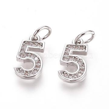 Platinum Clear Number Brass+Cubic Zirconia Charms