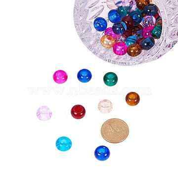 Glass European Beads, Large Hole Beads, Rondelle, Mixed Color, 15x10mm, Hole: 5~6.4mm(GDA006)