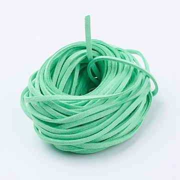 Environmental Faux Suede Cord, Faux Suede Lace, Aquamarine, 3x1mm(LW-XCP0001-02)