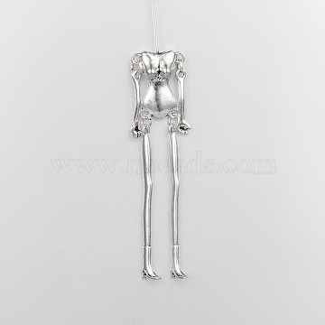Tibetan Style Alloy Human Body Skeleton For DIY Toy Doll Making, Cadmium Free & Lead Free, Antique Silver, 115x18x6mm; pin: 40mm long, 0.8mm(TIBE-39030A-AS-RS)