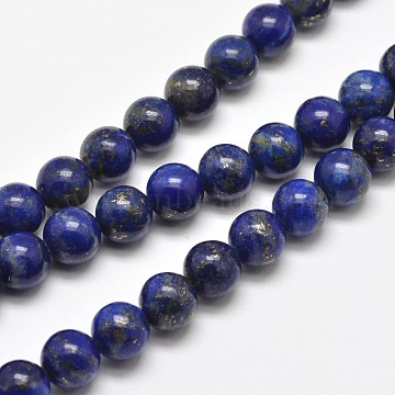 Natural Lapis Lazuli Round Bead Strands, 8mm, Hole: 1mm, about 48pcs/strand, 15.5 inches(X-G-E262-01-8mm)
