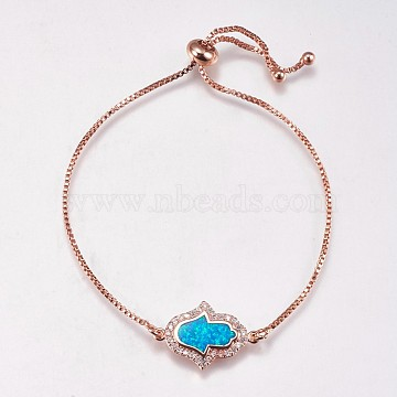 Adjustable Brass Bolo Bracelets, Slider Bracelets, with Synthetic Opal and Cubic Zirconia, Hamsa Hand/Hand of Fatima/Hand of Miriam, Rose Gold, Blue, 8-3/8 inches(212mm), 1mm, 13x20.5x1.5mm(BJEW-E333-10RG-A)