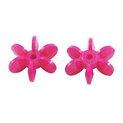 Perles de palette acryliques opaques de couleur unie, flocons étoiles, rose foncé, 14x12x5mm, Trou: 2mm(X-SACR-S624-6)