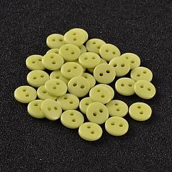 Boutons de couture en résine ronde et plate pour la création de costumes avec 2 trou, greenyellow, 9x2mm, Trou: 1mm(BUTT-E119-14L-15)