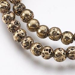 déposer des perles de lave naturelle, plaqué longue durée, arrondir, cahoteux, plaqué or et de lumière, 4.5~5 mm, trou: 0.8 mm; environ 89 perle / brin, 15.16 (38.5 cm)(X-G-I200-17D)