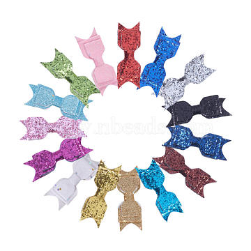 NBEADS Cloth Bowknot Alligator Hair Clips, with Iron Alligator Clips, Glitter Powder, Mixed Color, 95x30mm; clip: 56x8mm, 15pcs/set(OHAR-NB0001-02)