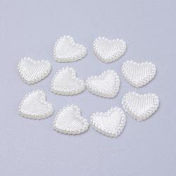 Cabochons de perles acryliques, teint, cœur, blanc crème, 13.5x14x2mm(MACR-F024-22)