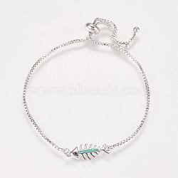 """Bracelets bolo chaîne en laiton, Bracelets coulissants, avec opale synthétique et strass, Fishbone, platine, springgreen, 9"""" (230 mm)(BJEW-K180-02-02A)"""