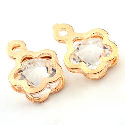 charmes de verre de fer, prunier, or et de lumière, 13x9.5x6.5 mm, trou: 1 mm(X-IFIN-Q116-05)