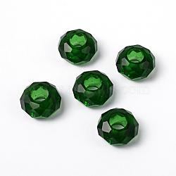 Fascinant pas de noyau de métal rondelle vert foncé breloque verre grand trou perles européennes s'inscrit bracelets et colliers, environ 14 mm de diamètre, épaisseur de 8mm, Trou: 5mm