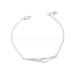Bracelet en forme de flèche de cupidon avec zircon cubique en argent sterling à la mode tinysand® fashion 925, argenterie, 172.2mm(TS-B304-S)