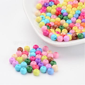 Solid Chunky Acrylic Ball Beads, Round, Mixed Color, 5mm, Hole: 1mm(X-SACR-R812-5mm-M)