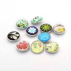 Styles mélangés boutons-pression en laiton de bijoux en verre, plat rond, Sans cadmium & sans nickel & sans plomb, platine, couleur mixte, 20x9 mm; bouton: 5~6 mm(SNAP-O017-A-M2-NR)