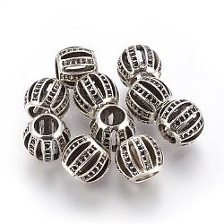 Perles en alliage, rondelle, argent antique, 9.5x11mm, trou: 6 mm; apte à 0.5~1 mm strass(PALLOY-E454-57AS)