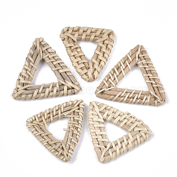 Handmade Reed Cane/Rattan Woven Linking Rings, For Making Straw Earrings and Necklaces, Triangle, AntiqueWhite, 40~44x42~49x4~5mm, Inner Measure: 15~22x15~24mm(X-WOVE-T006-068B)