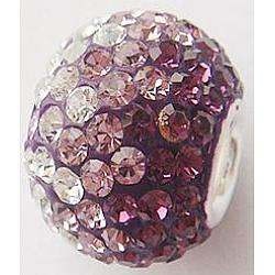 Perles européennes avec cristal autrichien de simple core en argent sterling , Perles avec un grand trou   , rondelle, 204 _améthyste, 14x12mm, Trou: 4.5mm(CPDL-D001-3)