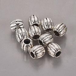 Style perles ondulées tibétains, sans plomb et sans cadmium, baril, argent antique, environ 9 mm de diamètre, épaisseur de 9.5mm, Trou: 3.8mm(X-LF0557Y)