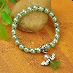 Bracelets d'ange belle avec robe de mariée pour les enfants, bracelets carnaval extensibles, avec verre perles de nacre et de perles de style tibétain, palegreen, 45mm(BJEW-JB00727-14)