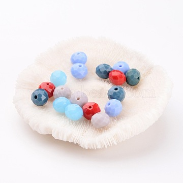 Mixed Imitation Jade Glass Beads, Faceted Rondelle, 10x8mm, Hole: 1mm(X-GLAA-F001-10x8mm-M)