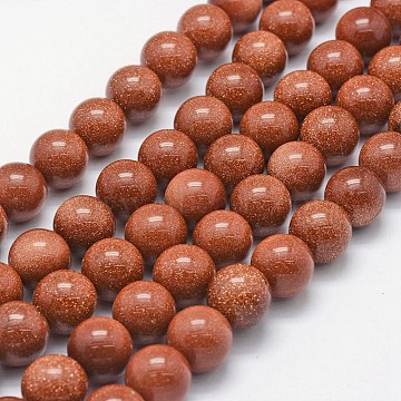 Synthetic Goldstone Beads Strands, Round, 10mm, Hole: 1mm; about 38pcs/strand, 14.96 inches(38cm)(G-P335-15-10mm)