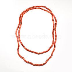 """Colliers de milti-brins avec perles en corail naturel teint, colonne, corail, 46.06""""(NJEW-T003-29)"""