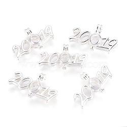 подвески латуни медальон, никель свободный, числа 2019, серебристый цвет, 23.5x40x9 mm, отверстия: 3x5 mm(KK-F755-27S-NF)