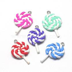 main pendentifs en pate polymère, lollipop, couleur mélangée, 36~41x21~25x5~6 mm, trou: 2 mm(X-CLAY-Q240-014)