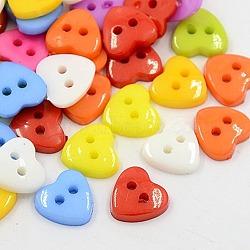 Boutons acryliques de cœur , boutons de couture en plastique pour la conception de costumes, 2-trou, teint, couleur mixte, 12x12x3mm, Trou: 1mm(X-BUTT-E071-A-M)