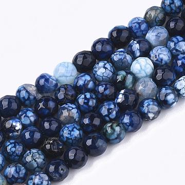 6mm DarkBlue Round Crackle Agate Beads