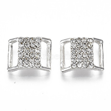 Brass Buckles, with Rhinestone , Rectangle, Silver, Crystal, 12x15x4mm, Hole: 9.5x2.5mm(RB-S066-20)