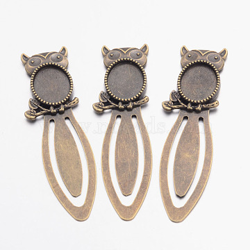 Bookmark Cabochon Settings, Iron with Alloy Owl Tray, Owl, Lead Free, Nickel Free & Cadmium Free, Antique Bronze, 78x21x3mm; Tray: 13x18mm(X-PALLOY-S033-06AB-NR)