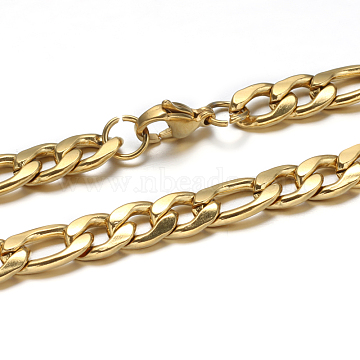 304 Stainless Steel Cuban Link Chain Necklaces and Bracelets Jewelry Sets, with Lobster Claw Clasps, Golden, 24 inches(610mm); 220x7mm(8-5/8 inchesx1/4 inches)(SJEW-O065-B-05G)