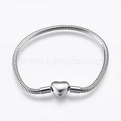 """304 chaîne de serpent rond en acier inoxydable de style européen, avec des agrafes, couleur inoxydable, 6-1/4"""" (16cm); 3mm(STAS-I097-004B-P)"""
