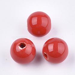 Perles en porcelaine manuelles, porcelaine émaillée lumineux, rond, rouge, 14~14.5x13.5~14mm, Trou: 2.5~3mm(X-PORC-S499-02J)