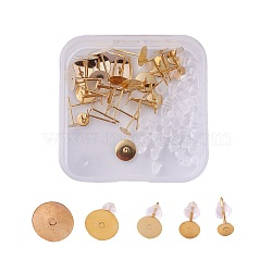 304 découverte de boucles d'oreille en acier inoxydable et écrous d'oreille en plastique / dos de boucle d'oreille, or, 4x0.3mm / 5x0.3mm / 6x0.3mm / 8x0.3mm / 10x0.3mm, pin: 0.8 mm, 50 pcs / boîte(STAS-JP0004-13G)