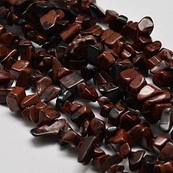 """Puce acajou naturel perles d'obsidienne brins, 5~8x5~8mm, trou: 1 mm; 34""""(G-N0134-25)"""
