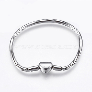 304 Stainless Steel European Style Round Snake Chains Bracelet Making, with Clasps, Stainless Steel Color, 6-1/4 inches(16cm), 3mm(STAS-I097-004B-P)